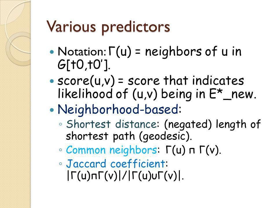 Various predictors Notation: Γ(u) = neighbors of u in G[t0,t0'].